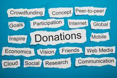 Word Donations On Piece Of Paper Salient Among Other Related Keywords Stock Photos