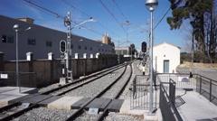 "Valencia Metro train stopping at the ""La Cova"" station in Valencia, Spain. Stock Footage"