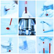 Mix of blood test in a laboratory Stock Photos