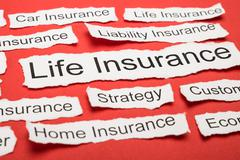 Life Insurance Text On Piece Of Paper Salient Among Other Related Keywords Stock Photos