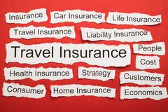 Travel Insurance Text On Piece Of Paper Salient Among Other Related Keywords - stock photo