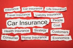Car Insurance Text On Piece Of Paper Salient Among Other Related Keywords Stock Photos