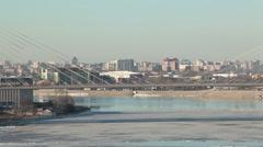 Stock Video Footage of The Big Obukhovsky Bridge in St. Petersburg. Bridge span with driving vehicles