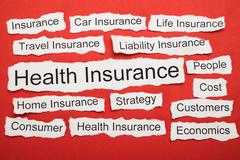Health Insurance Text On Piece Of Paper Salient Among Other Related Keywords Stock Photos