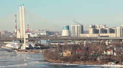 Close up view of span with ring road. The Big Obukhovsky Bridge, St. Petersburg - stock footage