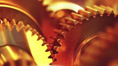Working golden gears - stock footage