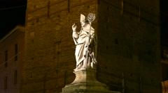 4K FHD Bologna Piazza di Porta Ravegnana The Statue of San Petronio Italy Stock Footage