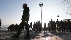 Pedestrians are walking on a precinct, closed traffic square slow motion Ortakoy - stock footage