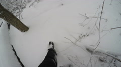 3216 Lost Man Walking in Snow Storm in Forest POV, 4K Stock Footage