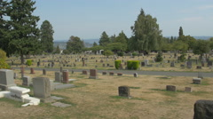 The famous Lake View Cemetery in Seattle Stock Footage