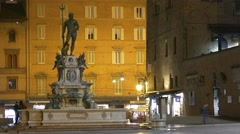 4K FHD Bologna Piazza Maggiore Main square Neptune fountain Fontana dei Nettuno Stock Footage