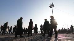 Pedestrians are walking on a precinct, closed traffic square slow motion Ortakoy Stock Footage