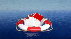 House on life belt in open sea - stock illustration