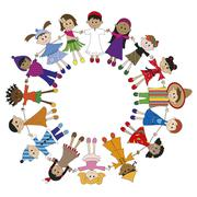 Circle of children of different nationality Stock Illustration