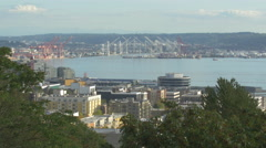 Beautiful view of Seattle and Elliott Bay Stock Footage