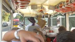 Sightseeing tour bus drive, Seattle, Washington Stock Footage