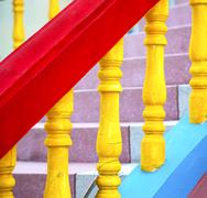 colors step rail  wat  palaces in the temple kho phangan asia - stock photo