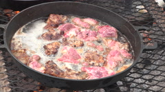Cooking meat over camp fire cast iron pans 4K 016 Stock Footage