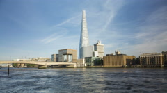 Time lapse of London Skyline with Shard Skyscraper, south bank of London. Stock Footage
