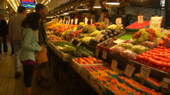 Vegetables and fruits in Pike Place Market, Seattle - stock footage