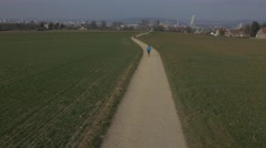 Panoramic view of City, Basel, Switzerland. Runner. Stock Footage