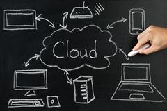 Person Drawing Cloud Network Server On Blackboard With White Chalk Kuvituskuvat
