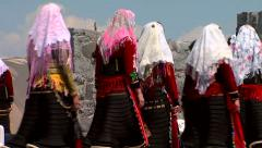 Women dressed in traditional costumes at the beauty contest Stock Footage