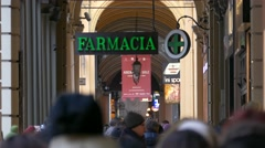 Stock Video Footage of 4K FHD Bologna historic old town archway street scene commercial area