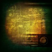 abstract grunge background with retro radio - stock illustration