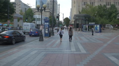 Walking in the Westlake Park in the afternoon, Seattle Stock Footage