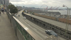 The Seattle Great Wheel view from Victor Steinbrueck Park Stock Footage