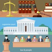 Fair trial. Supreme court. Law and people Stock Illustration