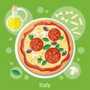 Pizza with its ingredients - stock illustration