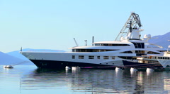 Luxury yacht anchored in the marina Stock Footage