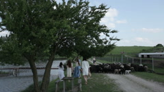 Girls walking near the farm (FLAT COLOR) Stock Footage