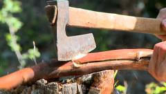 Stock Video Footage of Splitting wood with axe in the forest