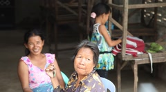 3 generations of Asian women smiling Cambodia Stock Footage