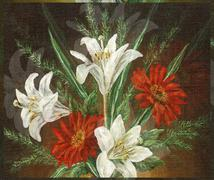 Picture Oil Painting, Bouquet Flowers - stock illustration