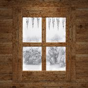 Wooden window overlook the trees covered of snow Stock Illustration