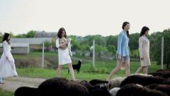 Girls on the farm Stock Footage