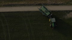 Huge tractor with trailer, spreading liquid manure. Stock Footage