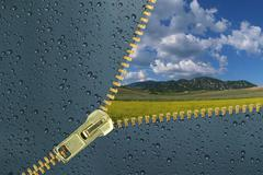 Unzipped glass with water drops revealing beautiful landscape - stock illustration