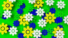 Colorful field with flowers on green background - stock illustration