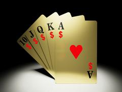 A royal straight flush playing cards poker hand with money symbol/ - stock illustration