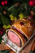 Beef Wellington as Advent creation Stock Photos