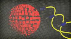 Abstract background with sphere, binary numbers and internet cables Stock Illustration