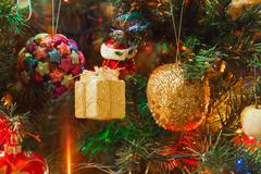 Decorated christmas tree background Stock Photos