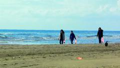 Mother and children walking on the beach and collecting shells by the sea - stock footage