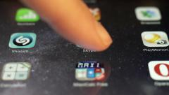 Sliding Program Icons On A Touchscreen Of Apple Ipad HD VIDEO Stock Footage