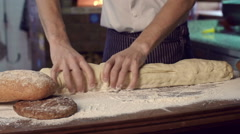 Kneading Bread Dough Stock Footage